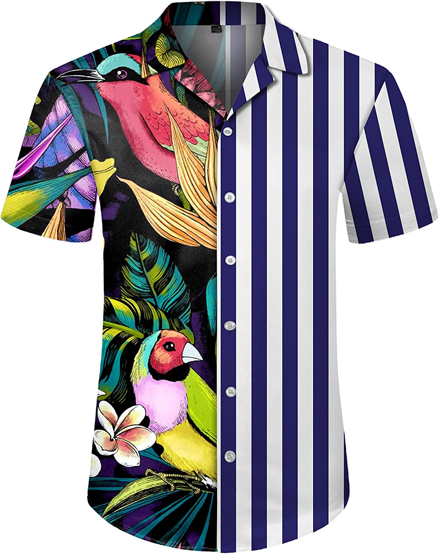 J.Ver Men's Hawaiian Shirt Floral Stripe Print Casual Button Down Short Sleeve Tropical Beach Shirts Unisex