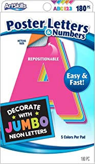 ArtSkills Jumbo Neon Poster Letters and Numbers, Arts and Crafts Supplies, Repositionable Letters, 4 Inches, 180 Pieces (PA-1426)