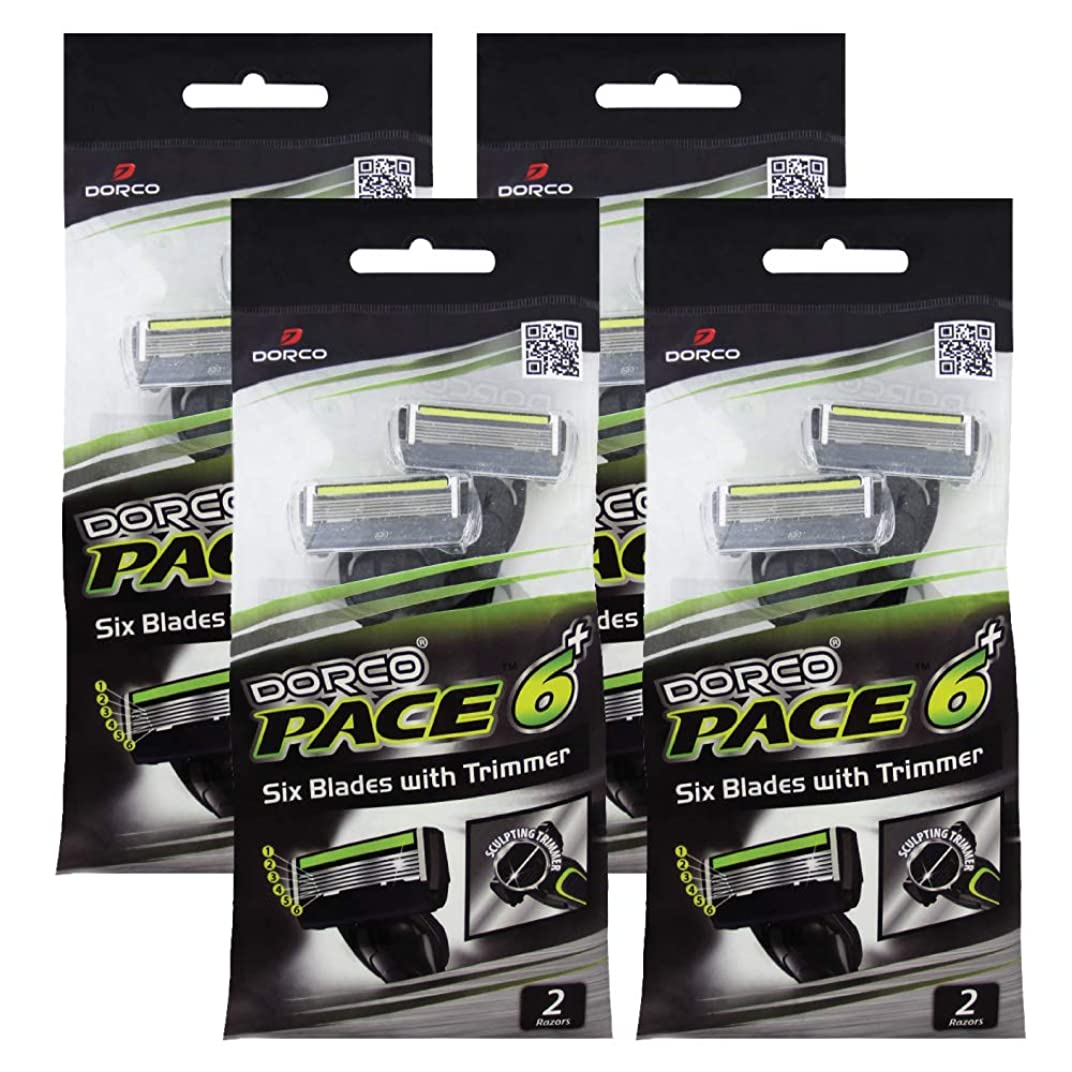 マティス苦難じゃないドルコ Pace6 Plus 枚刃カミソリ トリマー付き:Dorco メンズT字シェーバー8本入り、使い捨て、肌に優しい深剃り [並行輸入品]