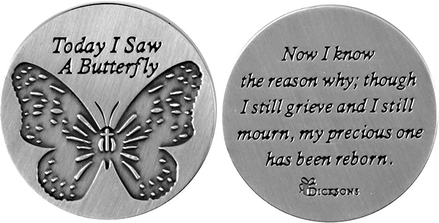 Today I Saw A Butterfly Silver Toned 1 x 1 Inch Zinc Alloy Pocket Stone