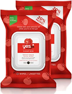 Yes To Tomatoes Clear Skin Blemish Clearing Facial Wipes for Oily or Acne Prone Skin, 30 Count (Pack of 2)