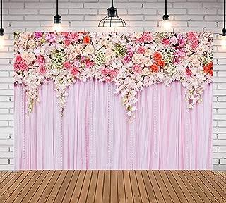 Qian 7x5ft Pink Flower Photography Background Rose Photo Backdrops Studio Props Birthday Wedding Decoration Vinyl