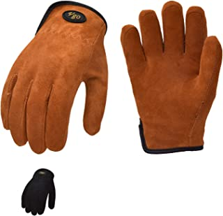 Vgo 2Pairs Age 5-6 Kids 32°F or Above 3M Thinsulate C40 Lined Soft Deerskin Leather Winter Outdoor Gloves for Playing, Riding, Hiking (Size M, Black&Brown, DB9712FW)
