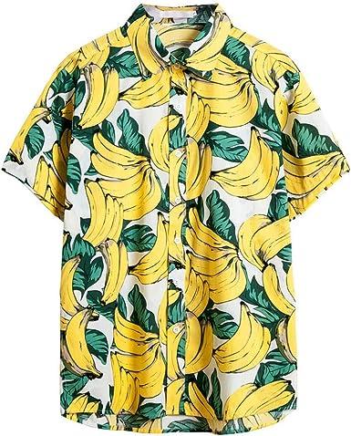 MMUJERY camisa hawaiana hombre verano Camisa de manga corta ...