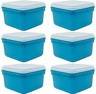 Codil Lot de 6 boîtes de rangement, récipients de cuisine, récipients réutilisables, boîtes en plastique, carrées avec cou...