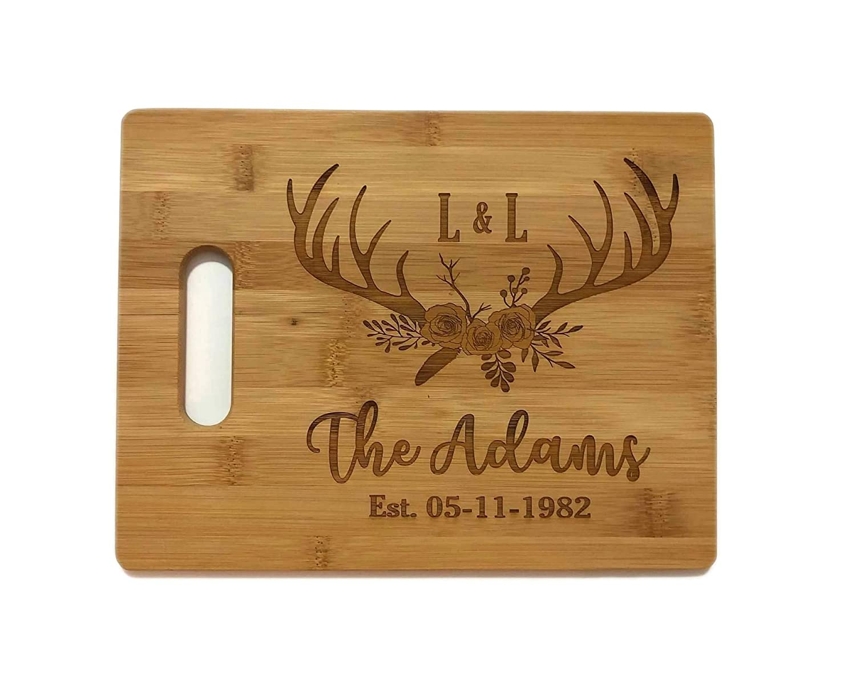 Award Custom Personalized Deer Antler Rare Floral Laser Cutting Board Engra