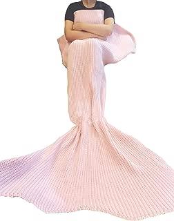 Coroler Lovely Handmade Light Pink Medium Size Soft Warm All Seasons Mermaid Tail Blanket Sofa Living Room Blanket