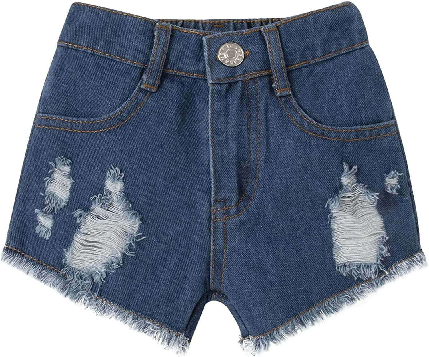 U·nikaka Baby Clothes Infant Toddler Boy Girl Outfit Summer Casual Ripped Jeans Denim Shorts with Pockets 1PC Blue