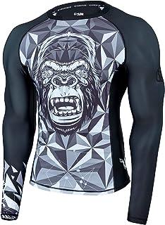 HUGE SPORTS Wildling Series Rash Vest Men- Long Sleeve Rash Guard UV Protection Quick Drying Wetsuit Swimming Topfor Surf...