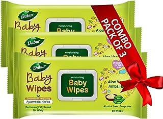 Dabur Baby Wipes: With Moisture Lock Cap |Contains Aloe Vera & Amba Haldi | Alcohol free ,pH balanced , Hypoallergenic & D...