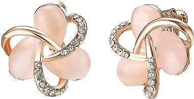 Yoursfs Opale Cristal Fleur Ajustable Clip Boucles d'oreilles Femme Ajustable Strass Réglable Clip oreilles non percées