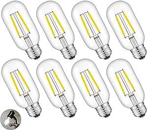 CRLight 2W LED Edison Bulb 4000K Daylight White, 30W Equivalent 300 Lumen, E26 Medium Base Vintage Style Tubular T45 / T14 Clear Glass Dimmable LED Filament Light Bulbs, 8 Pack