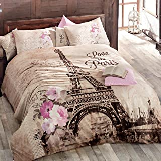 100% Turkish Cotton Paris Eiffel Tower Theme Themed Full Double Queen Size Duvet Cover Set Made in Turkey (print2, Twin)
