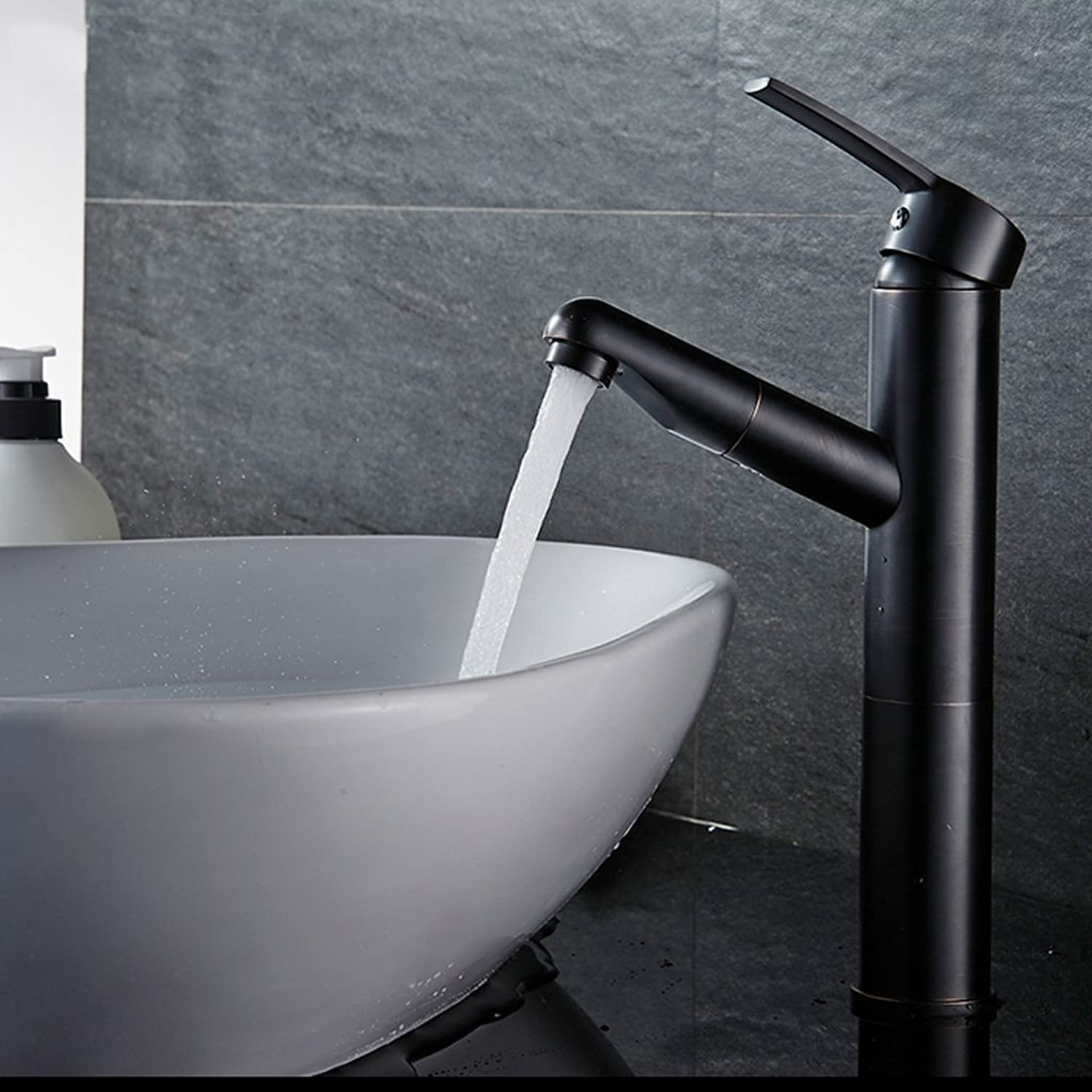 Bidet Taps Black Pull-type Faucet Copper Single Hole Hot And Cold Regulation Bathroom Basin Bathroom Wash Face Wash Head Aperture 32mm To 40mm Can Be Installed (Size   115mm275mm)