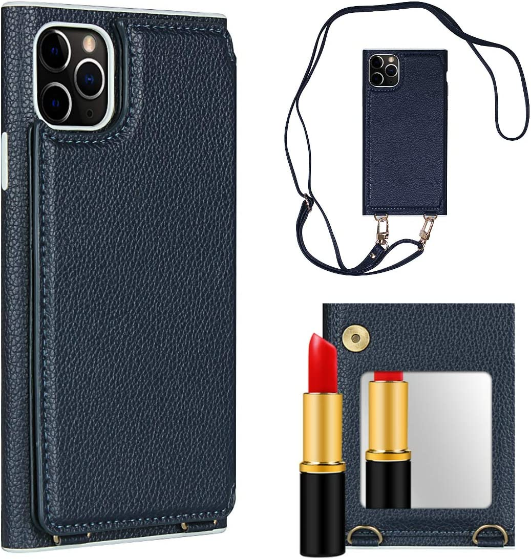 Cavor iPhone 11 Pro Phone Mirror Case, Wallet Case with Card Holder [1 Card Slot] PU Leather Crossbody Lanyard Handbag Cover for iPhone 11 Pro - Blue