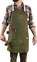H&O All-Purpose Work Apron : Durable Waxed Canvas with Cross-Back Shoulder Straps | 3 Large Pockets | Tool Loop | Fully Adjustable Repellent Heavy Duty Tool Apron - by H&O Trading Co.