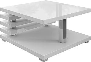 Tavolino Da Caffè Tavolino Da Salotto Tavolo Oslo 60 x 60 CM Lucida Bianca