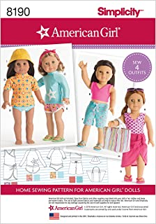 Simplicity 8190 American Girl 18'' Doll Beach Clothing Sewing Patterns