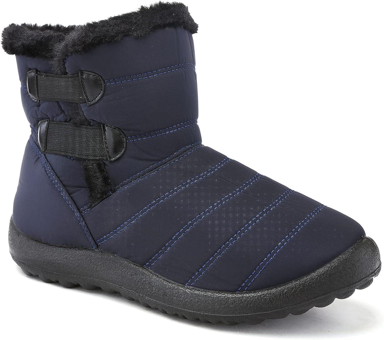Odema Women's Waterproof Snow Boots Faux Fur Ankle Boots Anti Sl