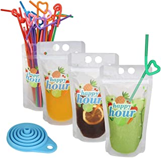 120 Pcs Zipper Plastic Pouches Drink Bags, Heavy Duty Hand-Held Translucent Frosted Reclosable Stand-up Bag 2.4