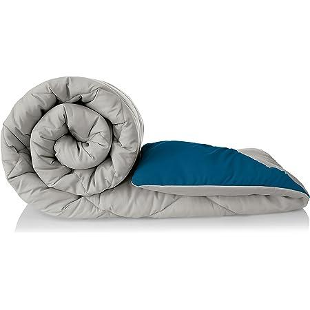 Amazon Brand - Solimo Microfibre Reversible Comforter, Double (Ash Grey & Deep Teal, 200 GSM)
