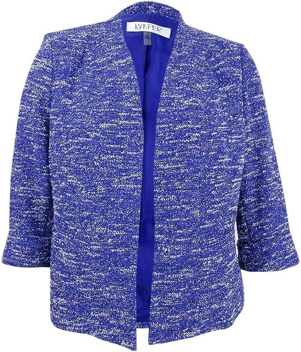 Kasper Women's Plus Size Wide Lapel Knit Tweed Jacket