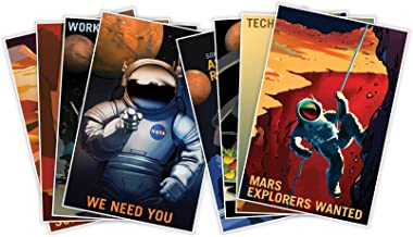 Gallery Prints The Complete Set of Eight (8) NASA Mars Explorers Wanted Space Travel Recruitment Posters - Each Measure 18