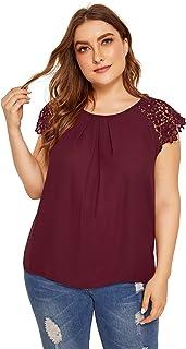 065b011e Milumia Women's Plus Size Lace Floral Sleeve Round Neck Shirt Blouse Top