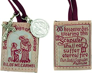 Religious Gifts Our Ladys Promise Brown Cloth Cord Scapular with Saint Benedict Protection Medal