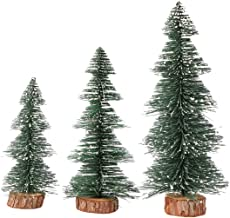 TOYANDONA 3pcs Tabletop Christmas Tree with Wood Base Xmas Desktop Trees Snow Frosted Trees for Home Kitchen Christmas Decor