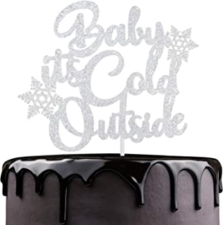 Baby It's Outside Cake Topper - Silver Glitter Snowflakes Winter Festival Cake Décor - Joyeux Noel - Baby Shower Kids 1st Birthday - Christmas Holidays Party Decoration