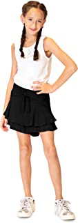 Skorts for Girls – Fun & Flairy Skirt & Active Short Hybrid - Choose from Stripe Knit, Double Ruffles, or Front Tie
