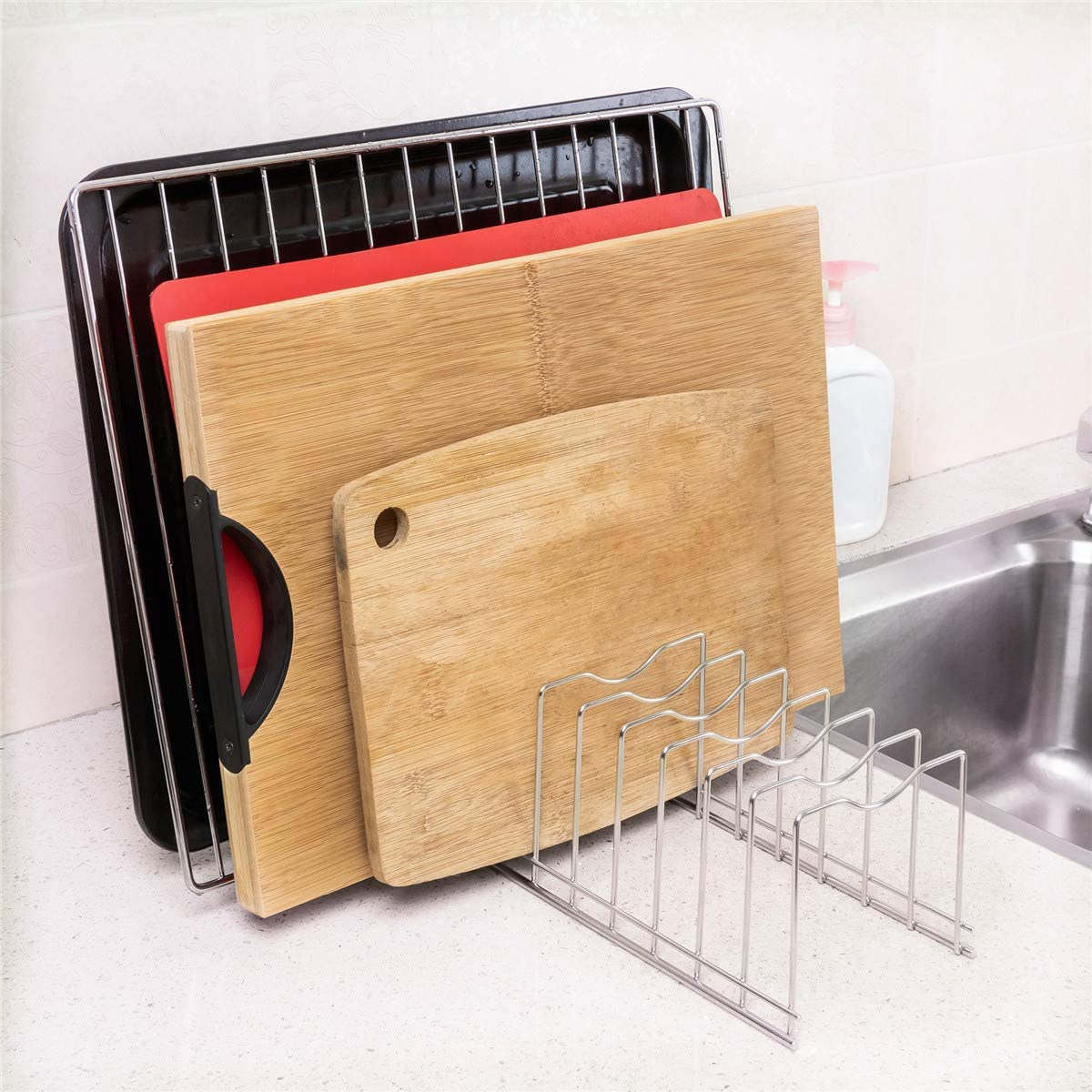 Bakeware Cutting Boards Serving Trays SANNO Pot Lid Holder Pan Lid Organizer Rack Cupboard Organizer Rack Stainless Steel Plates Pack of 1 Cooling Rack Kitchen Organizer Rack for Pot Lids