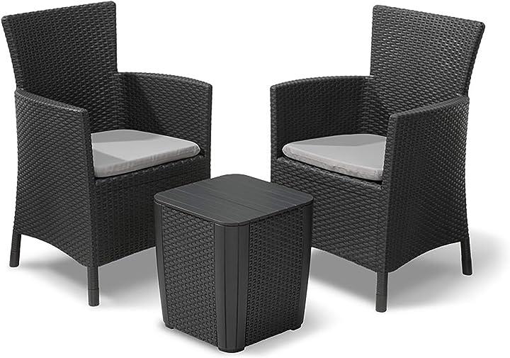 Keter iowa balcony set, set mobili da esterno 2 poltrone e tavolino contenitore grafite 229286