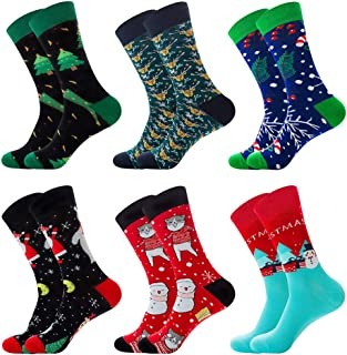 6 Pairs Colorful Mens Dress Socks, Stylish Patterned Crew Socks, Party Crazy Cotton Socks for Women Men