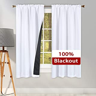 SUOCAI 100 Percent Blackout Window Curtain Panels with Black Lined for Bedroom - Thermal Insulated Noise Blocking Out Rod Pocket Drapes for Living Room(1 Pair Pure White 42 x 63 Inch Length)