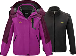 Wantdo Girl's 3 in 1 Waterproof Ski Jacket Windproof Warm Fleece Inner Hood Coat