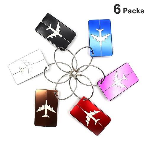 Almondcy-Etiquetas del equipaje del viaje de aleación de aluminio,6 piezas con diferentes