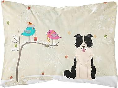 Caroline's Treasures BB2590PW1216 Between Friends Border Collie Black White Canvas Fabric Decorative Pillow, 12H x16W, Multic