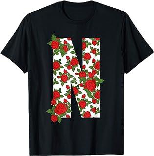 Rosa Lettera N iniziale Flower Style Design Design Cool Gift Maglietta