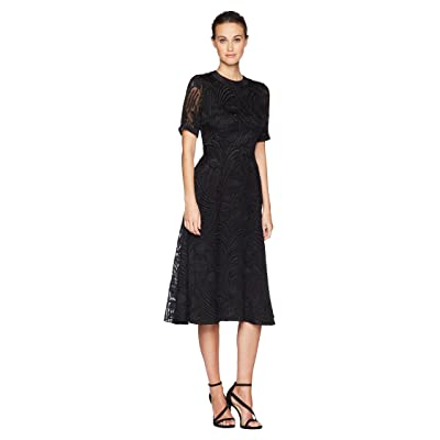 Adam Lippes Fil Coupe Silk Short Sleeve Crew Neck Dress (Black) Women