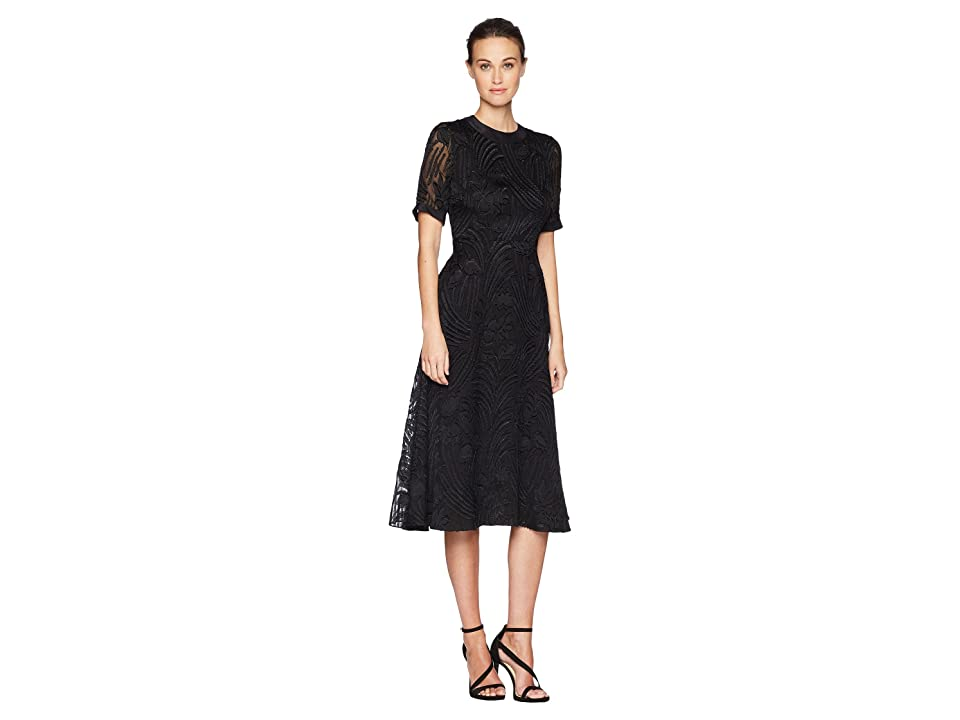 Image of Adam Lippes Fil Coupe Silk Short Sleeve Crew Neck Dress (Black) Women's Dress