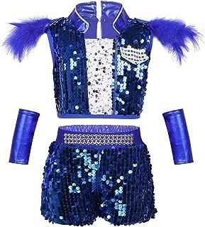 MSemis Child Girls Boys Sequins Jazz Latin Waltz Dance Clothing Set Hip Hop Street Dance Ballroom Performing Costume
