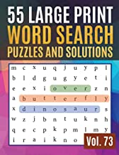 55 Large Print Word Search Puzzles and Solutions: Word Game Easy Quiz Books for Beginners (Find a Word for Adults & Seniors) (Find Words for Adults & Seniors Vol.73)