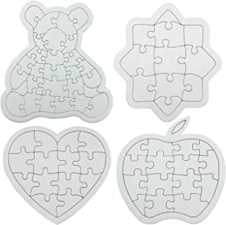 Nextnol 4PCS DIY Puzzle,68-Piece DIY Blank Puzzle,Four shapes,Apples(15-Piece), Sun flower(11-Piece), Bear(28-Piece),Love Heart Jigsaw Puzzle(14-Piece),Custom jigsaw puzzle,Blank jigsaw puzzle,White D