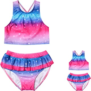 Girls&Dolls Two Pieces Tankini Swimsuit Floral Ruffle Swimwear Bathing Suit 10