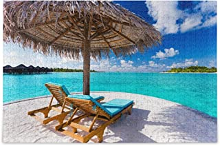 Two Chairs and Umbrella On Stunning Tropical Beach Jigsaw Puzzles for Adults Kids DIY Gift DIY Gift 500 Piece with Mesh St...