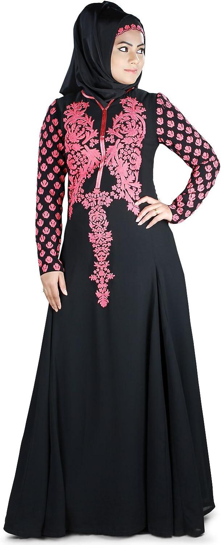 MyBatua Muslim Traditional Eid & Party Wear Black Embroidered Abaya Burqa AY391