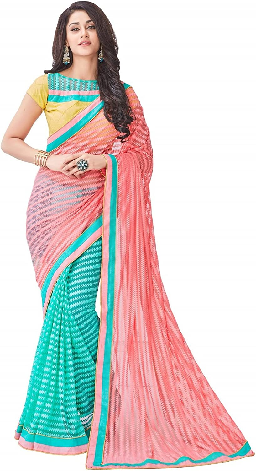 Kantaben Women's Salmon & cyan designer net embroidered half n half saree