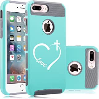 for Apple iPhone (7 Plus) Shockproof Impact Hard Soft Case Cover Love Heart Cross Christian (Teal-Gray)